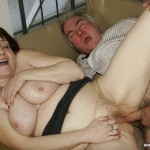 Busty Granny Ivana Spunked Right On Her Old Hairy Pussy 23